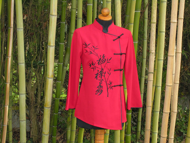 Silk jacket (red with black bamboo pattern)