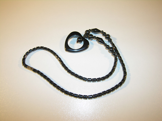 Hematite necklace, heart shape