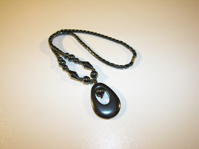 Hematite necklace, oval shape