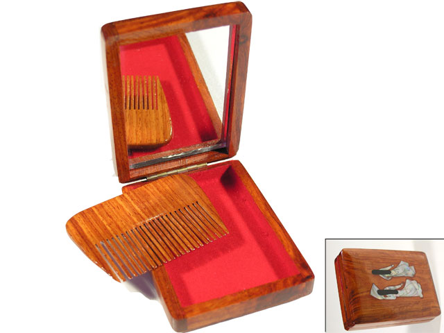 Mahogany box with mirror and comb