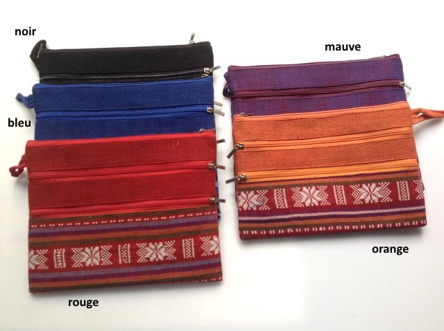 pochette avec trois fermetures en tissu ethnique sacs et porte monnaie pochettes les. Black Bedroom Furniture Sets. Home Design Ideas