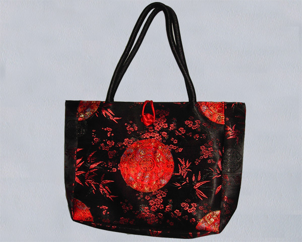 Satin bag, bambou pattern